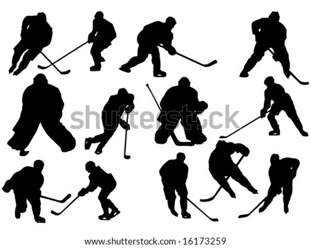group of hockey players vector illustration