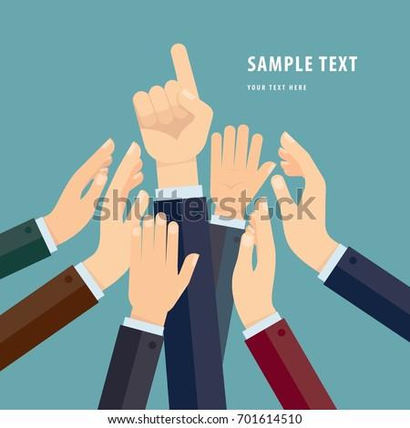 Group of Human Hands Holding Together, flat design style illustration #701614510