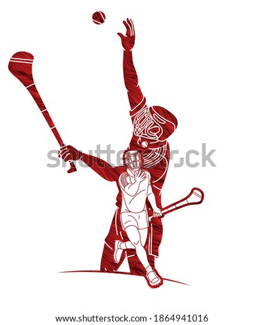 Group of Hurling sport players action. Irish Hurley sport cartoon graphic vector.