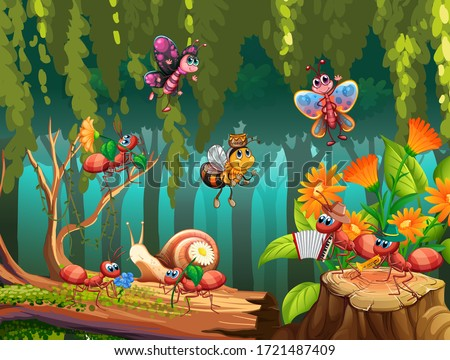 Group of insect in fairy nature illustration stock photo