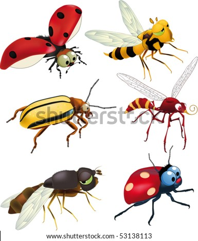 Group of insects of cartoon films