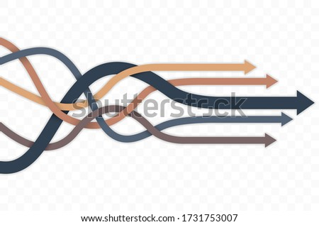 Group of intertwined multicolored arrows with shadows on transparent background - vector illustration Stock foto ©