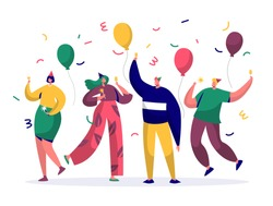 Group of joyful people celebrating New Year or Birthday party. Man and woman characters in hats having fun and having toast with confetti and balloons. Vector illustration