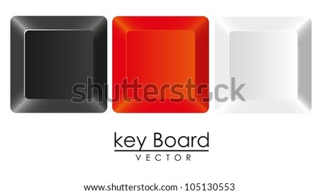 group of keys in three colors, white, black and red, vector illustration