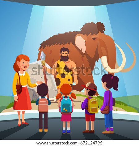 Group of kids girls, boys watching big mammoth & prehistoric primitive caveman on display at anthropology museum. School students on field trip together with teacher. Flat style vector illustration.