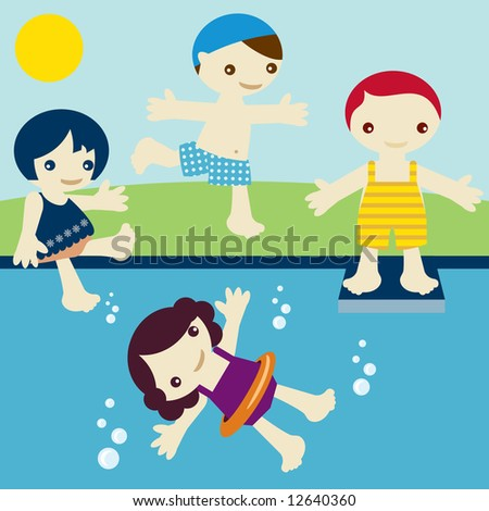 Group of kids join in vacations, jump, swim, rest and fun near a swimming pool