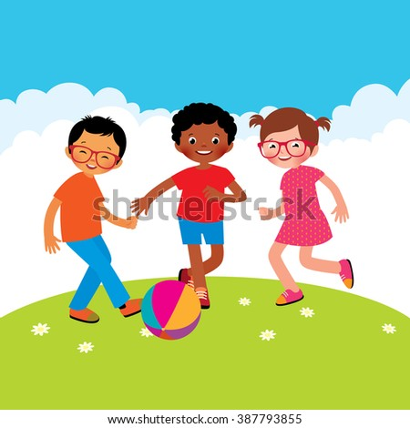 Group of kids playing with a ball stock vector illustration