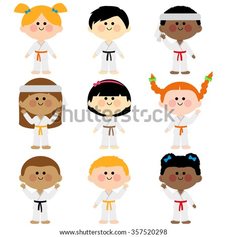 Group of kids wearing martial arts uniforms. Multicultural group of children wearing martial arts uniforms: karate, Taekwondo, judo, jujitsu, kickboxing, or kung fu suits vector set