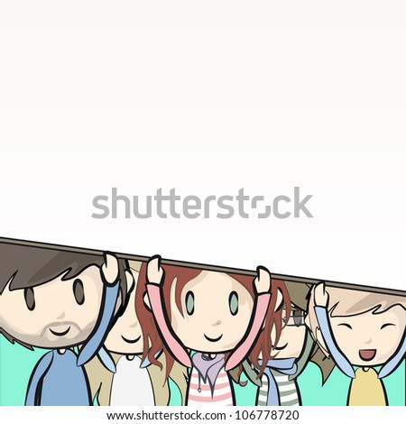 Group of Kids with tag Vector illustration