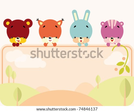 Stock Photo Group of little cute animals holding a blank sign for your message
