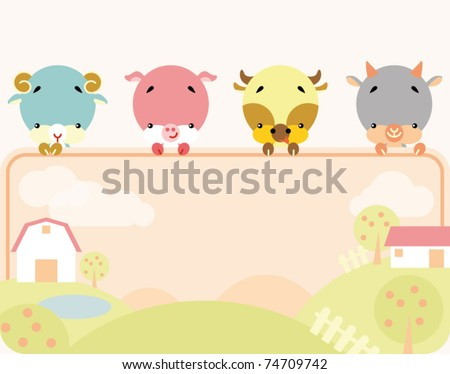 Group of little cute farm animals holding a blank sign for your message
