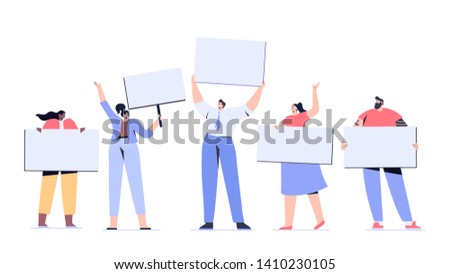 Group of male and female protesters or activists. Crowd of protesting people holding banners and placards. Men and women taking part in political meeting, parade . Flat vector illustration