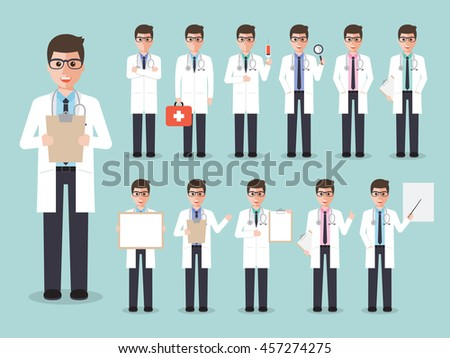 Group of male doctors, medical staffs. Flat design people characters.