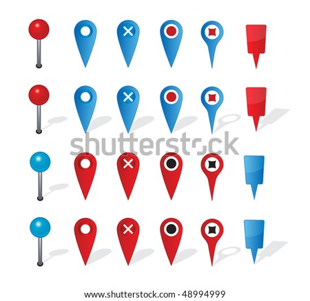 Group of map navigation icons and pin on white background