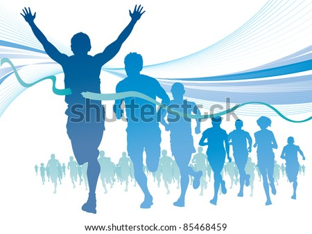 Group of Marathon Runners on abstract blue swirl background.