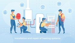 Group of Masters Make Installation and Repair of Electric Heating System at Home. Workers Handymen in Blue Overalls Setting Up Equipment and Wires Home Climate Control Cartoon Flat Vector Illustration