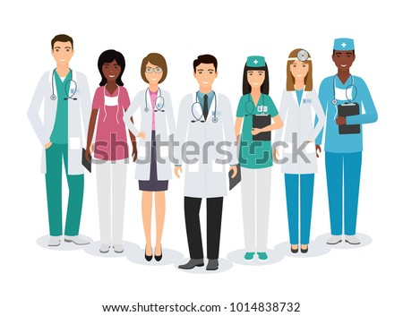 Group of medical people characters standing together in different poses on white background. Doctors and nurses in uniform. Medic clinic advertising banner. Vector illustration #1014838732