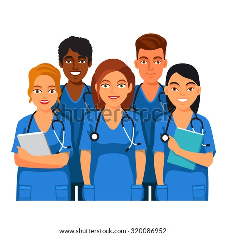 Group of medical students or nurses. Practicing Interns standing together in blue doctor uniform. Flat style vector illustration isolated on white background.