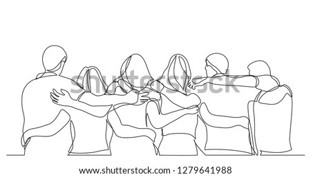 group of men and women standing together showing their friendship - one line drawing
