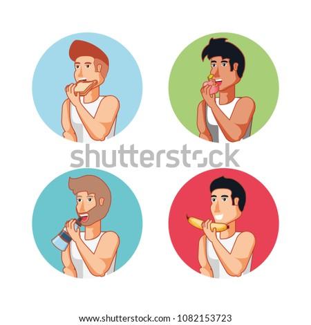 group of men athlete eating healthy food
