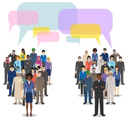 Group of men businessmen standing together and speech bubbles on white background in flat style. Business team and teamwork. Different nationalities and dress styles. Concept of the opinion poll.