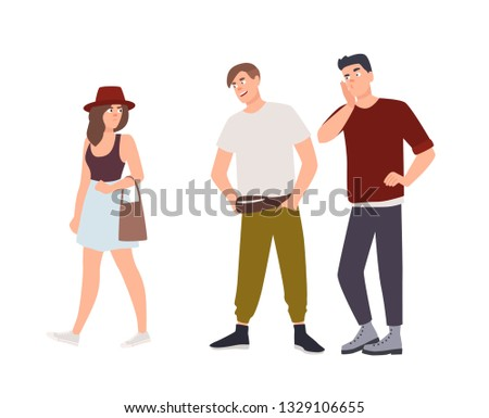Group of men whistling and staring at young woman on street. Sexual harassment, assault and abuse incident. Abusive behavior or molestation. Molesters and victim. Flat cartoon vector illustration.