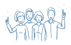 Group of mixed people, some raising hands, concept for voting, volunteering, election. Hand drawn blue outline line art cartoon vector illustration.