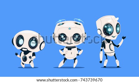 group of modern robots isolated