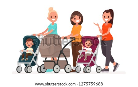Group of moms communicate and ride toddlers in prams. Walk of young mothers with children. Vector illustration in flat style