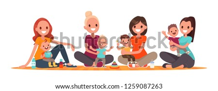 Group of mothers with babies. Club of young mothers. Mommies are sitting with children. Vector illustration in flat style