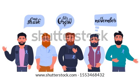 Group of multicultural bearded men with blue ribbons. Motivational slogans with calls to grow a mustache and beards in support of patients with prostate cancer. November awareness month. Man's health.