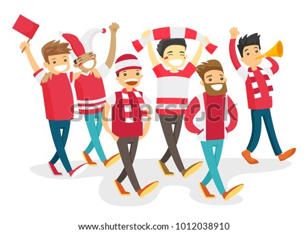 Group of multicultural happy sport fans in red outfit cheering for their team. Football fans with flag and scarfs strolling. Vector cartoon illustration isolated on white background. Square layout.