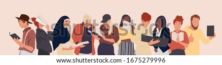 Group of multicultural people holding books. Young boy and young girls character. Happy teenager in casual clothes. Youth lifestyle. Quarantine activities. Vector illustration in a flat style.