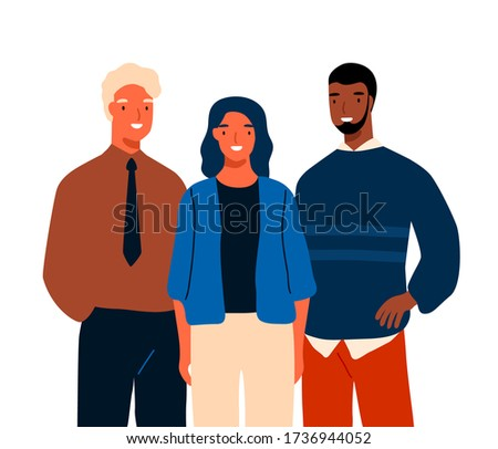 Group of multinational young business people standing together vector flat illustration. Team of diverse smiling person isolated on white. Casual man and woman colleagues or clerks