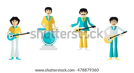 group of musicians on white