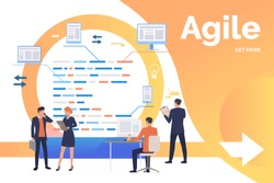 Group of office workers collaborating on tasks. Cycle arrow, development, process. Business concept. Vector illustration can be used for presentation slides, landing pages, posters