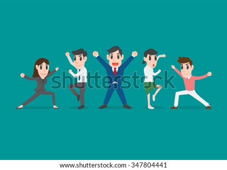 group of office workers posing