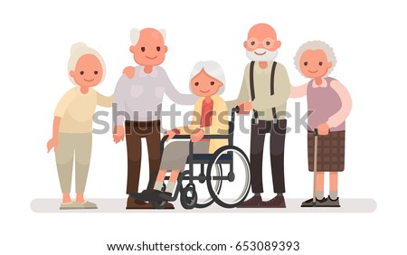 group of old people on a white