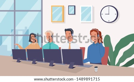 Group of operators with headset supporting people in call center office. Business support and telemarketing vector concept. Call center. Vector illustration in a flat style