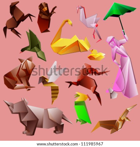 group of origami animals. vector design