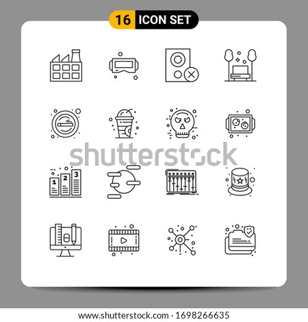 group of 16 outlines signs and