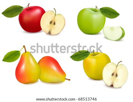 group of pears and apples