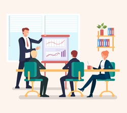Group of people businessmen office workers discussion new project strategy. Successful business planning concept. Vector flat cartoon graphic design illustration