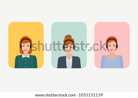 Group of people character in call center. Vector illustration of flat design people characters. Business character in human resource.