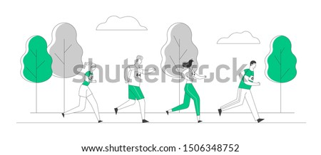 Group of People Characters Running Marathon Distance in Raw. Sport Jogging Competition. Athlete Sprinter Sportsmen and Sportswomen Run Marathon Sprint Race. Cartoon Flat Vector Illustration, Line Art