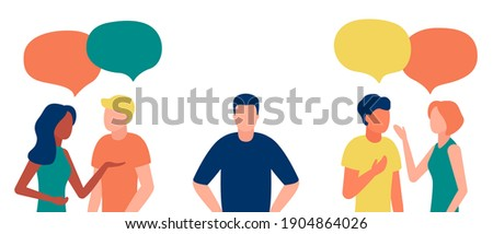 Group of people communicates, ignoring introverted man, outcast. Loneliness, ignorance, discrimination, indifference to teammate. Isolation, rejection of people in society. Vector illustration Stock photo ©
