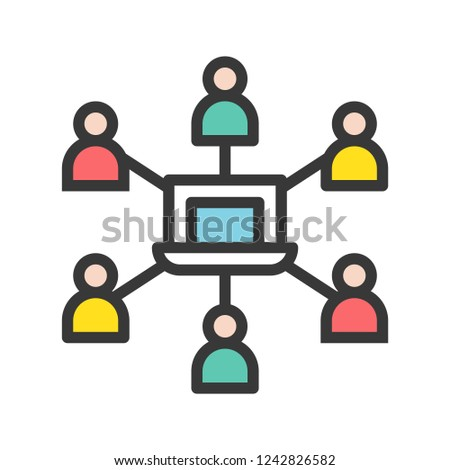 group of people connection and laptop, network communication and webinar concept.editable line