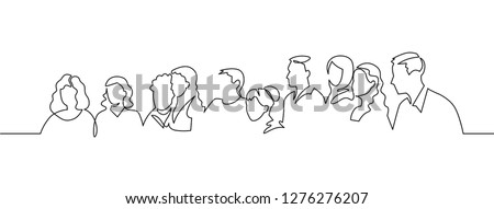 Group of people continuous one line vector drawing. Family, friends hand drawn characters. Crowd standing at concert, meeting. Women and men waiting in queue. Minimalistic contour illustration Сток-фото ©