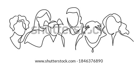 Group of people continuous one line vector drawing. People of different ages together. Family portrait Сток-фото ©