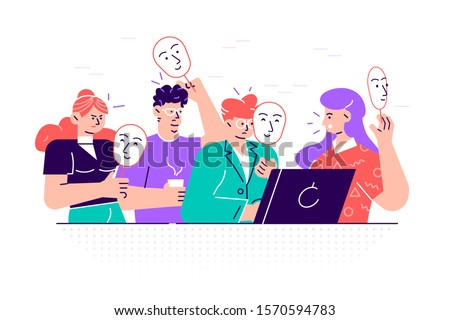 group of people covering their